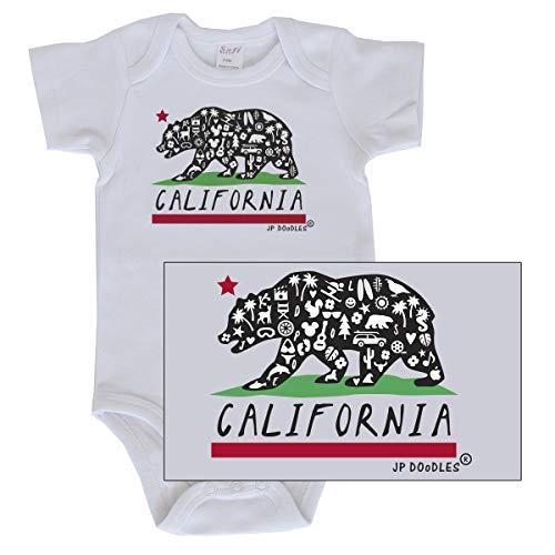 JP DOoDLES Baby Boy Bodysuit, 3-Pack California State Flag Bear, Dinosaur, Little Stinker Cute Creeper, Infant Onesie