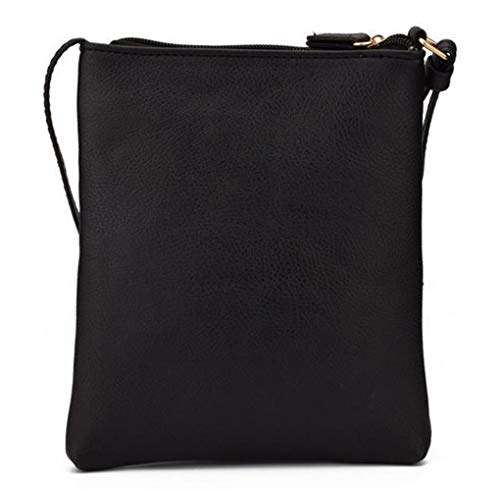 FairyBridal Triple Zipper Mutil-Pocket Leather Messenger Bag for Women,Crossbody Bag 5 Colors Satchel Purse (black(pu leather)) by FairyBridal (Image #2)