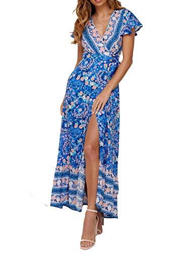 SALENT Women's Summer Boho Tie-Waist Floral Printed Wrap V Neck Split Beach Party Maxi Dress (L, 01 - Printed Wrap