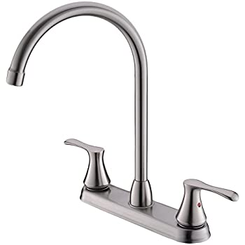 Comllen Commercial Widespread High Arc Brushed Nickel Two Handle Kitchen Faucet, Stainless Steel 2-Handle Kitchen Faucet