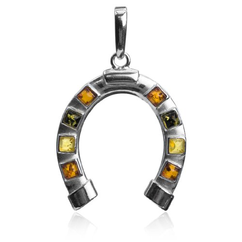 - Sterling Silver Multicolor Amber Horseshoe Luck Pendant