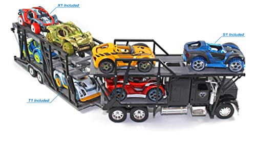 Modarri Transporter Semi Truck | Freight Hauler Carrier | Holds 8 Toy Cars | Model Toy Car Hauler | Stem Educational Toy | Fun and Functional Building Toys for Kids | fr Girls and Boys Age 5 6 7 8 9