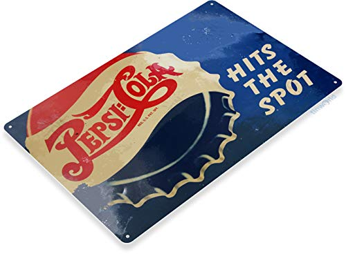 (Tinworld Tin Sign Pepsi Cola Hits Spot Retro Rustic Soda Metal Sign Decor Kitchen Cottage Cave B053)