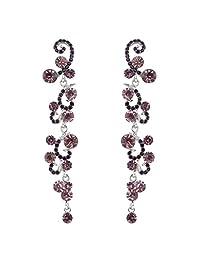 Ever Faith Bridal Flower Wave Austrian Crystal Dangle Earrings Silver-Tone