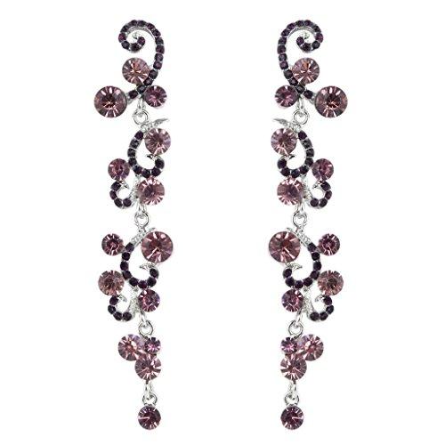 EVER FAITH® Noces Fleur Vague Cristal Autrichien Pendant Boucle d'Oreilles Ton d'Argent - Pourpre N01827-4
