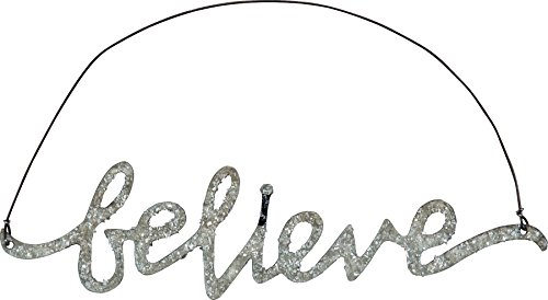 Primitives By Kathy Phil Chapman 6 inches x 1.50 inches Tin Word Ornament - Believe -