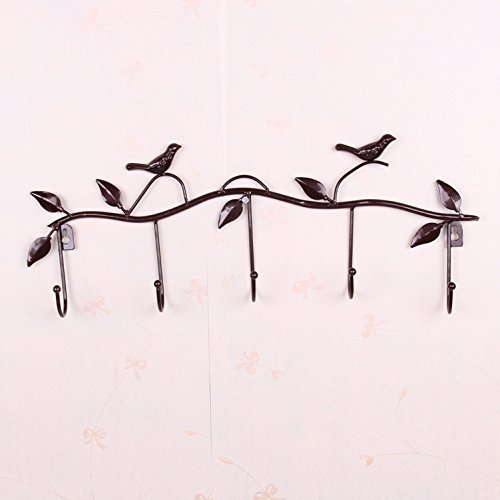 Twig and Bird Wall Hooks Metal 5 Hooks Hook Hanger Rack Holder for Hanging Clothes , Coat , Hat, Belt Brown Color Pack of 3