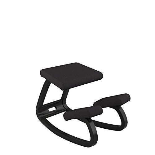 Varier Variable Balans Original Kneeling Chair Designed by Peter Opsvik (Black Revive Fabric with Black Ash Base)