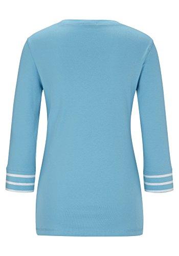 Hajo D Leichtsweatshirt V-Ausschn, Camiseta de Manga Larga para Mujer Azur