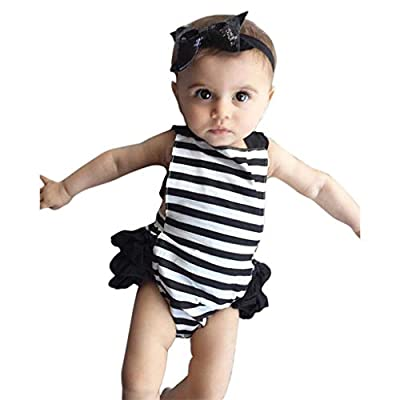 NUWFOR Newborn Infant Baby Girl Boy Clothes Lace Romper Playsuit+Headband Outfits Set