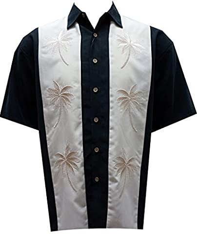 Bamboo Cay Mens Pacific Paneled Palms, Tropical Style Button Front Embroidered Camp Shirt (4XL, - Signature Camp Shirts