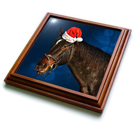 3dRose trv_269548_1 Santa Hat on Horse Named Angel with a Blue Christmas Background Trivet with Tile, 8 by 8'' by 3dRose