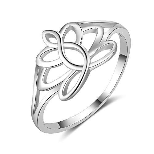 IDoy AmpleLove 925 Sterling Silver Lotus Flower Rings - High Polish Lotus Wedding Yoga Ring Sizes, Ring for Women