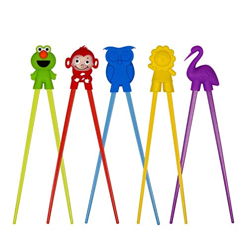 Eye Doll Master (Training chopsticks for kids adults and beginners - 5 Pairs chopstick set with attachable learning chopstick helper - right or left handed)