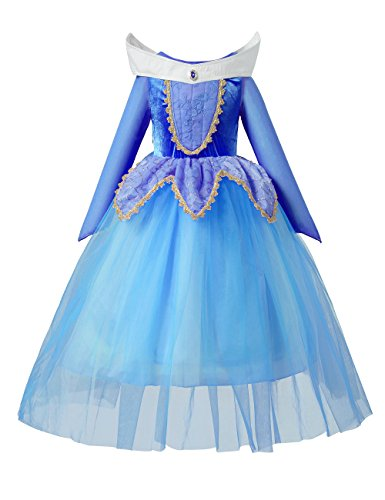 Sleeping Beauty Princess Aurora Party Girls Costume Dress(7-8 Years)