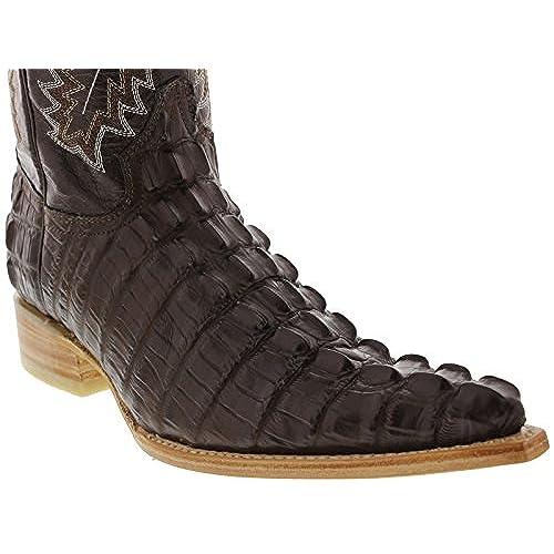 0af446de3aaa Team West - Men s Brown Crocodile Tail Design Leather Cowboy Boots w  Tan  Sole XXX