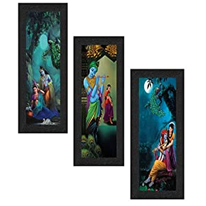 Set of 3 Radha Krishna Framed Painting 17 inch X 24 inch