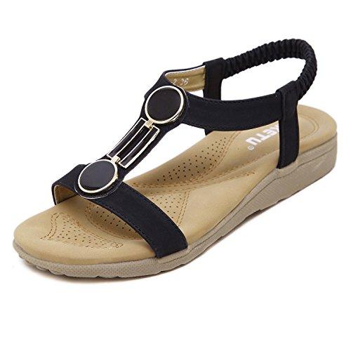 dqq Mujer Open Toe T Correa Flat Sandal Negro - negro