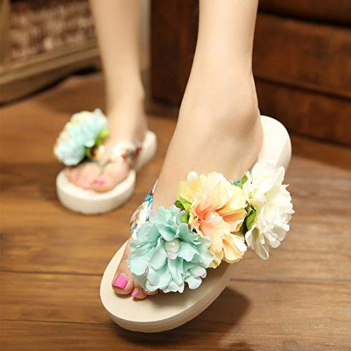 Flops Beach Flip Sandals Women Platform Wedges Soft 6 Uk Bohemian Beige 41 Eu Summer Lulyl Flowers BUCwIqB