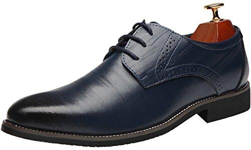 Ppxid Mens In Vera Pelle Stringate Scarpe Brogue Business Blu