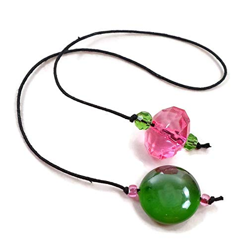 Pink, Green Beaded Book Thong Style Bookmark