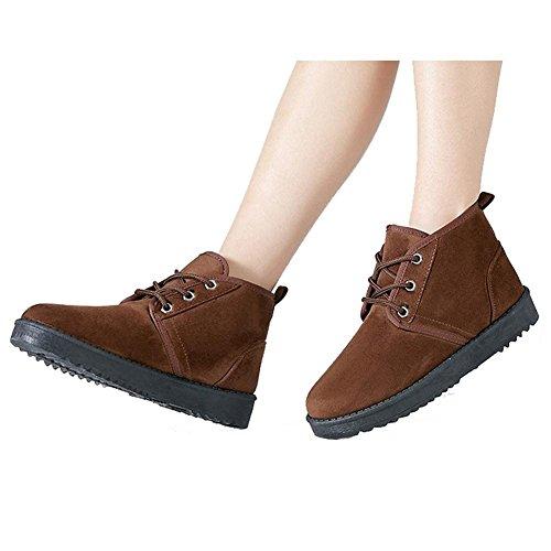 BROWN Las deporte cordones 40 soporte tobillo botas BLUE de algodón de corto de Suede gruesos mujeres Casual peluche talón 37 Zapatillas cálido Rgr6TqwR