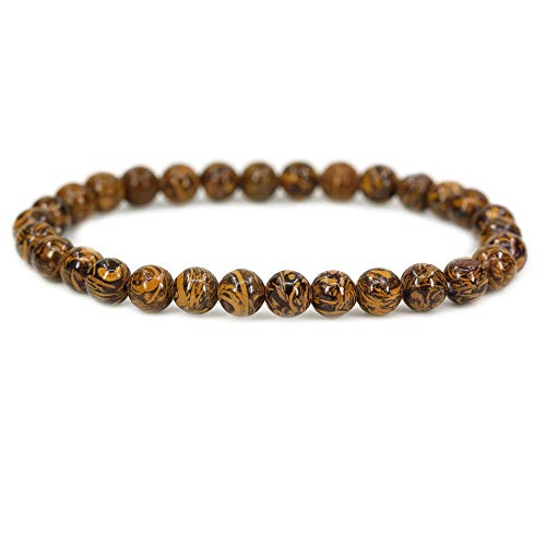 Natural Tiger Skin Jasper Gemstone 6mm Round Beads Stretch Bracelet 7