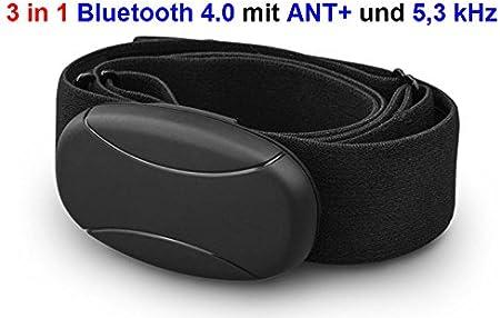 Cinturón de pecho Bluetooth con ANT + 5kHz descodificado para Runtastic, Wahoo, Strava App, para Android como Samsung S3/S4/S5/S6/S7/S8, Sony, LG, HTC, Google, Huawei, ZTE Medidor de frecuencia cardí