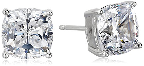 Platinum Plated Sterling Silver Cushion Cut Cubic Zirconia Stud Earrings (8.5mm)