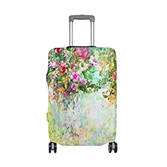 Mydaily Watercolor Flower Spring Floral Luggage Cover Fits 18-22 Inch Suitcase Spandex Travel Protector S
