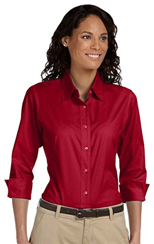 Poplin 3/4 Sleeve Shirt - Devon & Jones Ladies 3/4 Sleeve Stretch Poplin Blouse, Small, RED