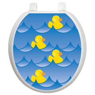Toilet Tattoos Rubber Ducky Blue Decorative Applique for Toilet Lid