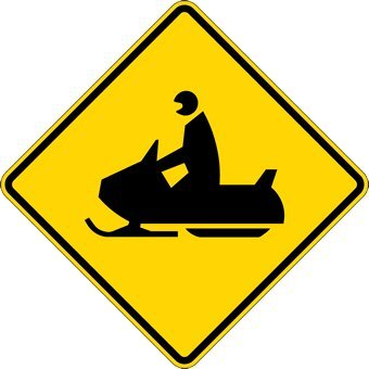 Snowmobile Crossing Warning Sign - 24x24