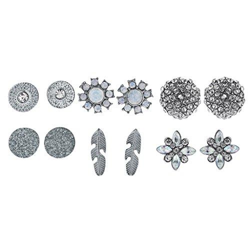 - Lux Accessories 6PC Cute Flower Floral Silvertone Opal Earrings Multi Earrings