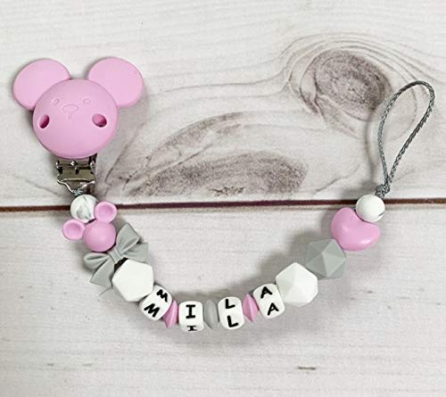 Schnullerkette mit Namen Nuckelkette grau rosa wei/ß Silikon M/ädchen