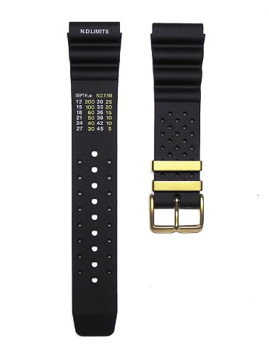22mm TIMEWHEEL Black Italian Rubber Watch Band Fits Aqaland Promaster Diver Watch