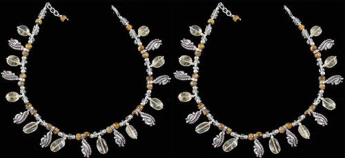 Multi color Gemstone Anklets (Price Per Pair) - Sterling Silver by Exotic India