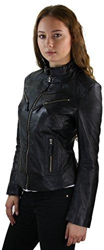 style Perfecto Noir biker coupe vritable femme cintre vintage cuir rtwU6t