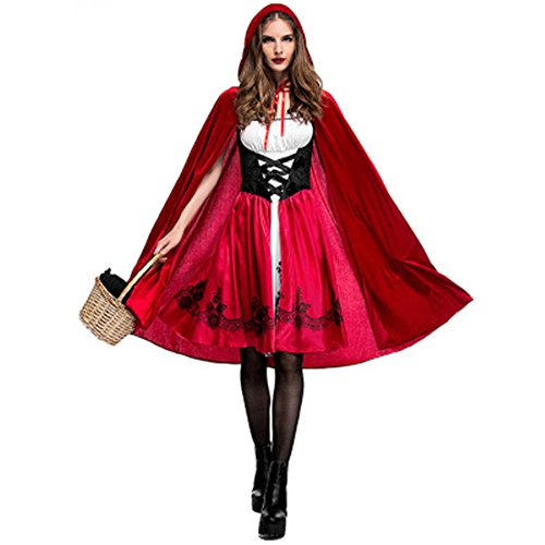 Little Red Riding Hood Halloween Costume Makeup (Ellelove Halloween Little Red Riding Hood Cape Fairytale Party Fancy Dress Costume Outfit (XL))