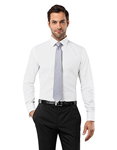 Vincenzo Boretti Men's Shirt Slim-fit Double Cuff uni Non-Iron White 15.75
