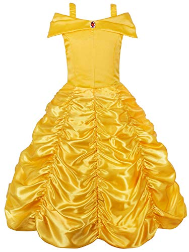 JerrisApparel Princess Belle Off Shoulder Layered Costume Dress for Little Girl (9-10 Years, Yellow) -