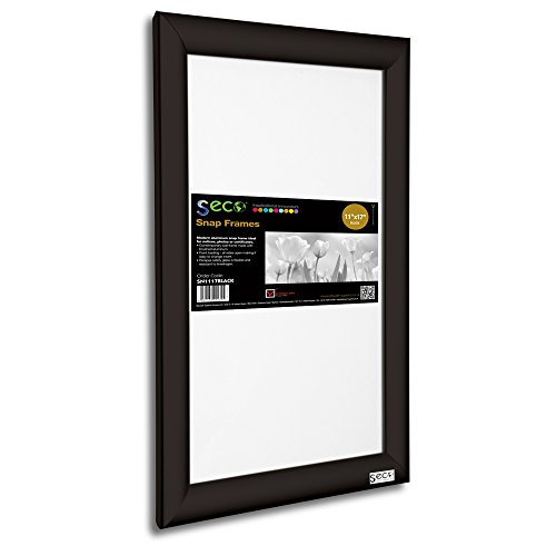 SECO Front Load Easy Open Snap Frame Poster/Picture Frame 11 x 17 Inches, Black Aluminum Frame - Frame Anti Glare