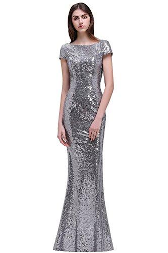 MisShow Women's Mermaid Long Formal Evening Dress Sequined Bridesmaid Dresses,12