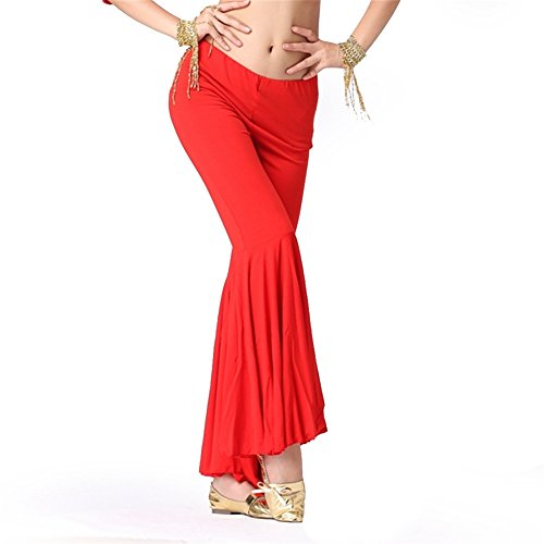 Belly Dance Costume Tribal Dancewear Cotton Large Belly Pants Soft Belly Dancing Outfits Red (Belly Dance Costumes Large Ladies)