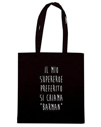 T-Shirtshock - Borsa Shopping T0846 il mio supereroe preferito si chiama barman bevande sballo Nero