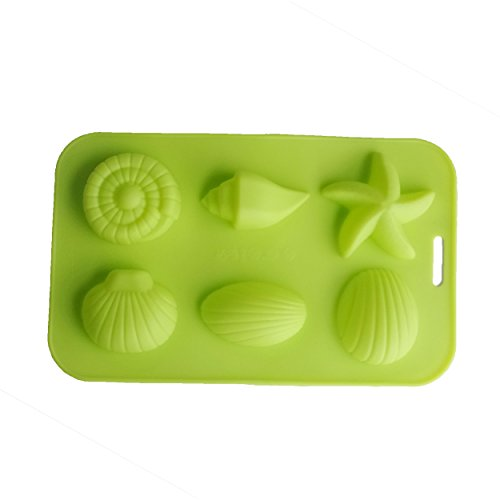 Yunko 6 Cavity Starfish Conch Shell Shape Baking Silicone Cake Mold Ice Cube Mold Cookie Mold Soap Candle Mould (Sea Life Cake Pan)