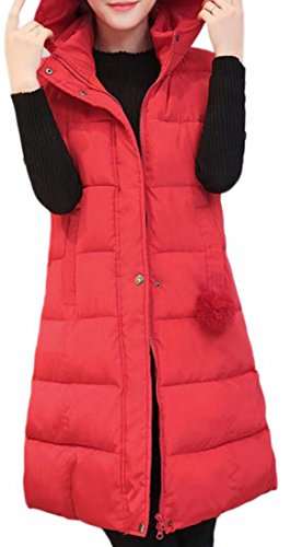 Down Brd Hoodie Jacket Red Vest Midi Coat Hot Zip Womens Winter Outwear UK xBwd0IO