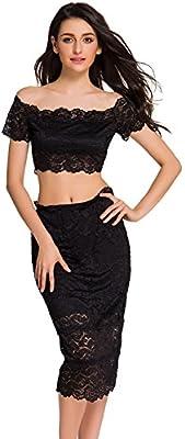 xiaotiantian off-Shoulder de encaje negro Crop Top y Falda Set ...