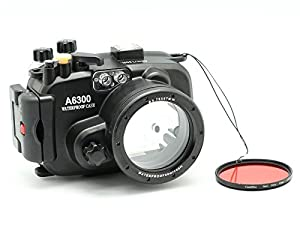 MEIKON 40M/130FT Underwater waterproof camera housing for Sony A6300