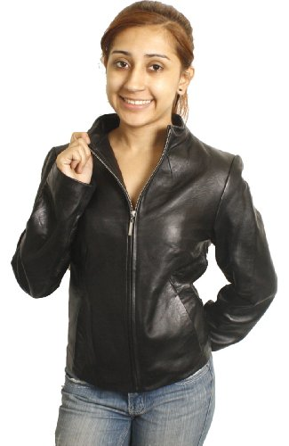 Dona Michi Women's Black Collar Less Genuine Leather Jacket Short Zipper-319